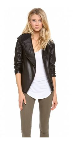 HOODED LEATHER JACKET - $267.32  Constructed in soft, washed leather, a tailored HELMUT Helmut Lang jacket offers a sophisticated take on moto style. The hood forms a soft collar, and zips close the hip pockets and off-center placket. Fleece lining.