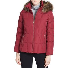Calvin Klein Faux Fur Trim Puffer Coat (€155) ❤ liked on Polyvore featuring outerwear, coats, red, puffy coat, quilted coat, red coat, faux fur trim hooded coat and red puffy coat