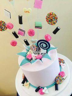Exploding candy cake, birthday cake.