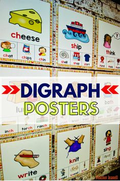 Introduce and reinforce digraphs with these beautiful phonics posters. These posters will serve as an excellent reference for students throughout the school year. Teacher Bulletin Boards, Reading Bulletin Boards, Bulletin Board Display, Kindergarten Reading, Kindergarten Classroom, Kindergarten Activities, Decoding Strategies, Phonics Rules, Phonemic Awareness