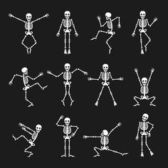 Funny dancing skeleton set by vectortatu on Funny dancing skeleton vector illustration stock vectors and royalty free photos in HD. Skeleton Dance, Funny Skeleton, Skeleton Art, Skeleton Drawings, Skeleton Tattoos, Tattoo Caveira, Dance Humor, Funny Dance, Halloween Ideas