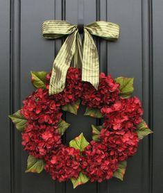 Red Hydrangea Wreath, Traditional Wreaths, Wreaths, Hydrangeas, Home Decor, Spring Decorations