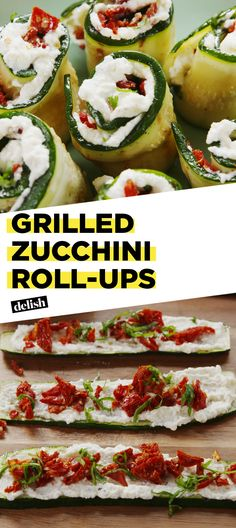 Grilled Zucchini Roll-Ups will slash calories from your next cookout. Get the recipe at Delish.com. #recipe #easy #easyrecipe #zucchini #lowcarb #lowcarbrecipe #lowcarbdiet #cheese #ricotta #grill #grilling #tomatoes