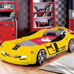 Need for Sleep Bumble Bee Turbo Car Bed with Roadster Mattress