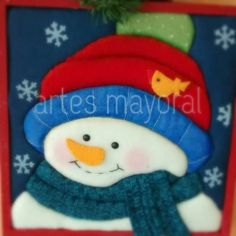 navidad Felt Christmas, Christmas Ornaments, Snowman Images, Snowball, Lily, Snowmen, Quilts, Holiday Decor, Felting