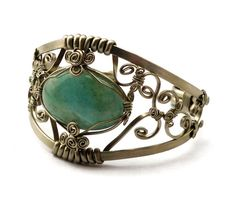 Aquamarine Wire Wrap Cuff Bracelet by Hyppiechic on Etsy, $60.00
