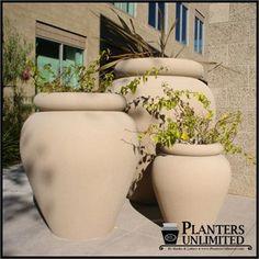 Portofino Planter - jug or urn shaped planter in small and large sizes - http://www.hooksandlattice.com/jug-planters.html