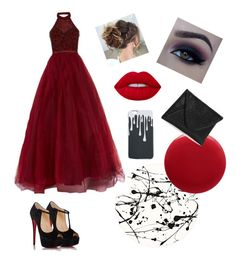 """""""Red Prom"""" by westie884 on Polyvore featuring Christian Louboutin, Lisa Perry, Oribe, Jovani and Lime Crime"""