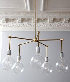 DIY Modern Brass Chandelier Use round white bulbs instead