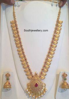Mango Mala latest jewelry designs - Page 7 of 55 - Indian Jewellery Designs Gold Chain Design, Gold Jewellery Design, Gold Jewelry, India Jewelry, Bridal Jewelry, Beading Jewelry, Antique Jewellery, Gold Bangles, Jewelry Sets