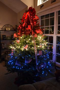 My patriotic Christmas tree.. I got this idea while my husband was overseas.