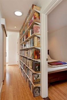 Small Home Libraries That Make a Big Impact Get inspiration for organizing your book collection with these 15 home library ideas.Get inspiration for organizing your book collection with these 15 home library ideas. Small Space Living, Living Spaces, Small Rooms, Wall Spaces, Living Rooms, Small Home Libraries, Public Libraries, Small Apartment Decorating, Small Hallway Decorating