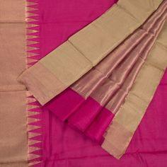 Marm Handwoven Chanderi Silk Cotton Saree with Zari & Temple Border 10002346 - AVISHYA
