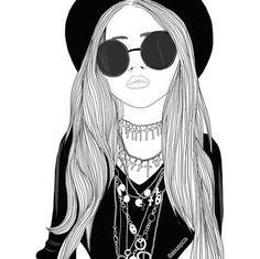 fille, lunettes, cheveux, Tumblr