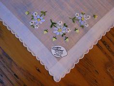 Burmel Original Handkerchief, Unused Vintage Hanky, Blue & Yellow Flowered Hanky, Handkerchief,Embroidered Hanky, Floral Hanky, Tissue Hanky by BeautifulPurpose on Etsy
