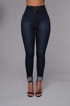 Classic High Waist Skinny Jeans - Dark