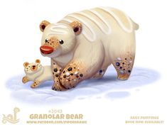 Daily Paint Granolar Bear by Cryptid-Creations on DeviantArt Cute Food Drawings, Cute Animal Drawings, Kawaii Drawings, Cute Fantasy Creatures, Cute Creatures, Pretty Art, Cute Art, Animal Puns, Animal Food