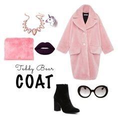 """#tedddybearcoat"" by cat-forsley ❤ liked on Polyvore featuring Witchery, Thalia Sodi, Prada, unicorn, fauxfur and teddybearcoats"