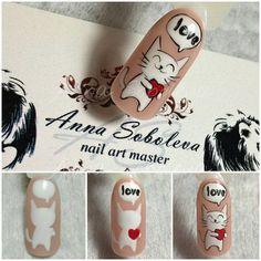 Ideas Fails Design For Kids Tutorials Simple Nail Designs, Nail Art Designs, Love Nails, Pink Nails, Animal Nail Art, Valentine Nail Art, Nail Art For Beginners, Kawaii Nails, Cat Nails