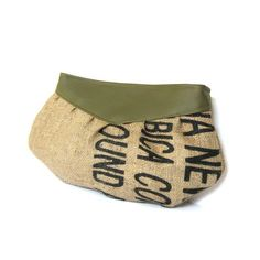 Clutch // Recycled Burlap Coffee Sack - Typography - Olive Green Vegan Leather. $27.00, via Etsy.