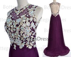 Purple Prom Dresses, 2014 Prom Gown, Straps Crystal Long Lace/Chiffon Purple Prom Dresses Wedding Party Dresses, Long Prom Gown, Formal Gown