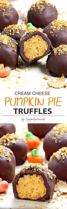 Pie Truffles These deliciously addicting melt-in-your-mouth pumpkin pie truffles are made with a spiced pumpkin cheesecake filling that's smothered in rich, dark chocolate!These deliciously addicting melt-in-your-mouth pumpkin pie truffles are made with a Pumpkin Recipes, Fall Recipes, Holiday Recipes, Spiced Pumpkin, Pumpkin Spice, Pumpkin Pumpkin, Pumpkin Puree, Summer Recipes, Candy Recipes