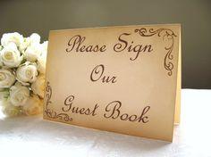 5 x 7 Vintage Style Guest Book Wedding Sign by EngLavenderStudios