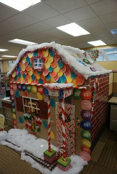 we had a christmas cubicle decorating contest at work our ginger bread house won for - Christmas Office Decorations