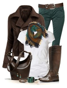 """""""Brown & Teal"""" by tufootballmom ❤ liked on Polyvore featuring Maison Scotch, Doublju, AllSaints, Tory Burch, Contileoni, Wet Seal, Coach, Club Monaco and Marni"""