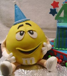 Yellow M&m on Cake Central Fancy Cakes, Cute Cakes, Yummy Cakes, Yellow M&m, Mellow Yellow, M And S Cakes, Yoshi, Character Cakes, Fondant Figures