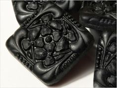 Czec vintage black glass buttons