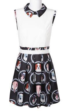 White Black Sleeveless Animal Print Bandeau Dress