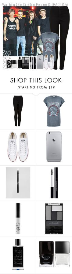 """Watching One Direction Perform"" by elise-22 ❤ liked on Polyvore featuring Topshop, River Island, Converse, Stila, shu uemura, NARS Cosmetics, Wet n Wild, Agonist, Butter London and ASOS"