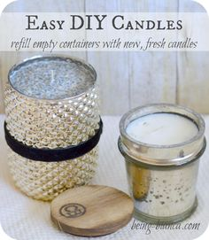 Have a candle vessel container you love but the candle has burnt out?  Try refilling the container with this EASY DIY!  DIY candles are easy to make and inexpensive, too!