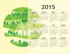 Eco style 2015 calendar vector 04