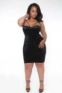 Black stretch knee length dress