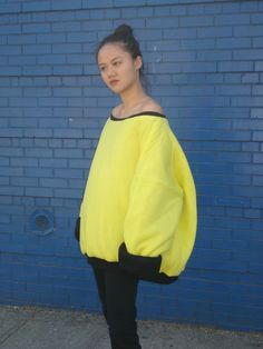 Oversized Yellow and Black Puffy Reversible Sweatshirt by Landru428Shop on Etsy https://www.etsy.com/listing/288008657/oversized-yellow-and-black-puffy