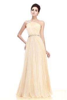 Glamoroso/Taline's Vestido de Noche Largo al Piso con Plisados de Un Hombro