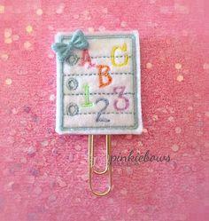Blue/Gold/School Paper/Felt Applique Paper Clip/Journal Marker/Bookmark/Planner Clip by pinkiebows on Etsy