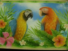 12x8 Kitchen Art TROPICAL MACAW BIRDS Tempered GLASS CUTTING BOARD Multi-color  #Unbranded