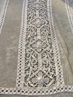 Antique French Large Filet Lace Bedspread Cover c.1900   eBay