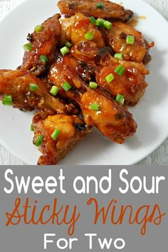 These delicious Sweet and Sour Sticky Wings are baked until the meat is fall-off-the-bone tender and then smothered in gooey sticky sweet and sour sauce. Chicken Wing Sauces, Baked Chicken Wings, Chicken Wing Recipes, Chicken Breasts, Asian Chicken, Chicken Meals, Small Meals, Meals For Two, Sticky Wings Recipe