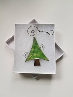 **Funky Christmas Tree Abstract Ornament, Stained Glass Tree Suncatcher, Xmas Gift Idea, Adorable Ornament** **This stained glass tree suncatcher measures approximately 3x3.5 inches with a jump ring attached to the top of the abstract glass art. **This unique stained glass window