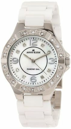 Anne Klein Women's 109685WTWT Swarovski Crystal Silver-Tone and White Ceramic Bracelet Watch Anne Klein. $118.80. White ceramic bracelet. Silver-tone hour hands; Sweep second hand; Printed inner ring. Silver-tone Swarovski crystals accented bezel. Mother-Of-Pearl dial with silver-tone Arabic numerals at 12-3-6-9 and 8 Swarovski crystal markers. Water-resistant to 99 feet (30 M). Save 21%!