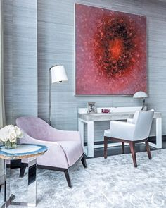 Tall Order PHOTOGRAPHS BY MARCO RICCA  Drake designed the room's desk, which features a leather-wrapped top; its chair is covered in Dedar's Mademoiselle satin in Perle. The side chair is upholstered in Osborne & Little's Colombina Plains Isabella chenille. The agate side table by Brenda Houston is from Holly Hunt, and the painting is by David Mann.