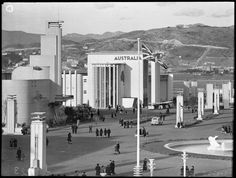 New Zealand Centennial Exhibition buildings, Rongotai, Wellington, in Shows the Australian pavillion Exhibition Building, New Zealand, Buildings, Street View, Australia, Image