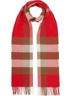 When it comes to checks, Burberry is best in the business. Crafted from beautiful cashmere, this red scarf is enveloped in the House's signature check. Featuring a check pattern and fringed edges. Burberry, Red Scarves, Cashmere Scarf, Womens Scarves, World Of Fashion, Women Wear, Sweaters, Pattern, Fabric