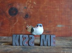 KISS ME vintage letterpress letters. gift for by ReverseChronology, $35.00