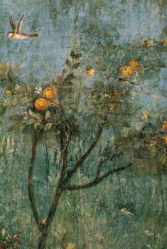 Villa di livia, affreschi di giardino, parete corta meridionale, cotogno - Category:Villa di Livia - Underground garden room - Wikimedia Commons