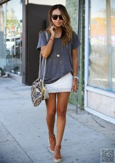 7. Tiny #White Number - 25 Fun Mini #Skirts for Spring ... → #Fashion #Denim